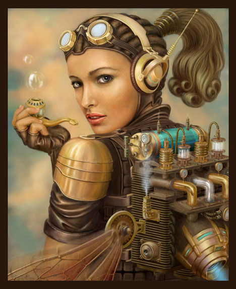 steam punk girl painting